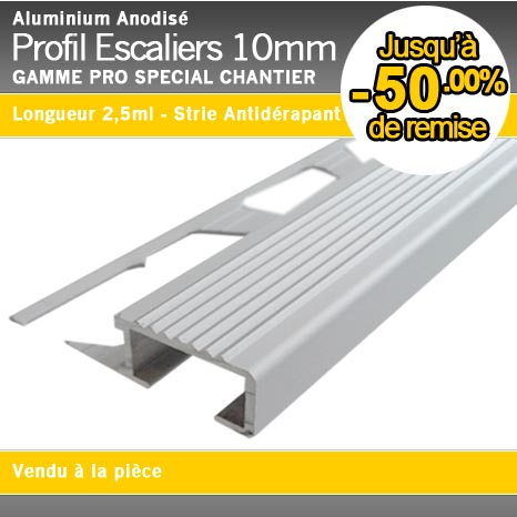Profil d 39 escaliers stri alu anodis 10mm for Profile pour carrelage