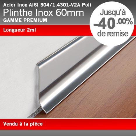 Plinthe acier inox poli 60mm for Plinthe cuisine inox