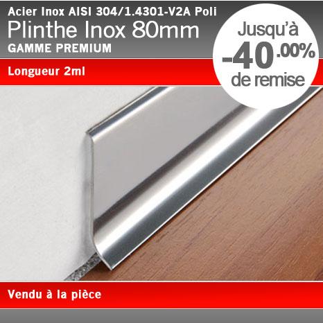 Plinthe inox poli 80mm for Plinthe alu cuisine